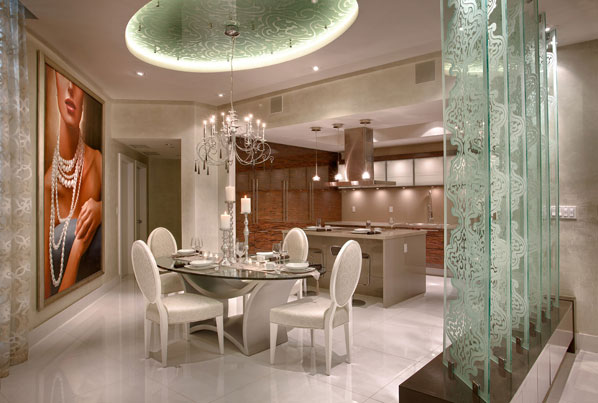 Elegant contemporay interior with a cream off white color for Dining room off kitchen