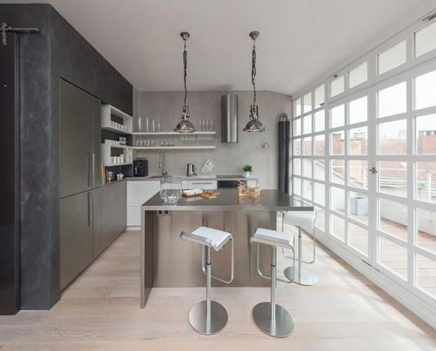 gray attic loft by ooox 2