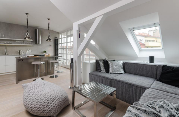 gray attic loft by ooox