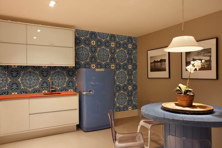 Retro Kitchen With Light Blue Refrigerator