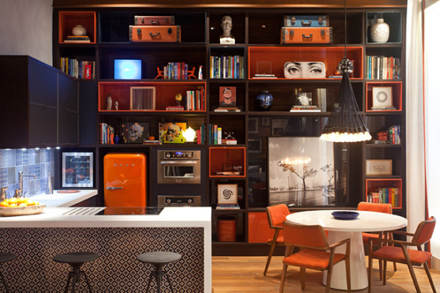 retro kitchen design with orange refrigerator