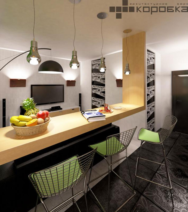 Modern Black and White Studio Apartment With A Touch Of Green Decoholic