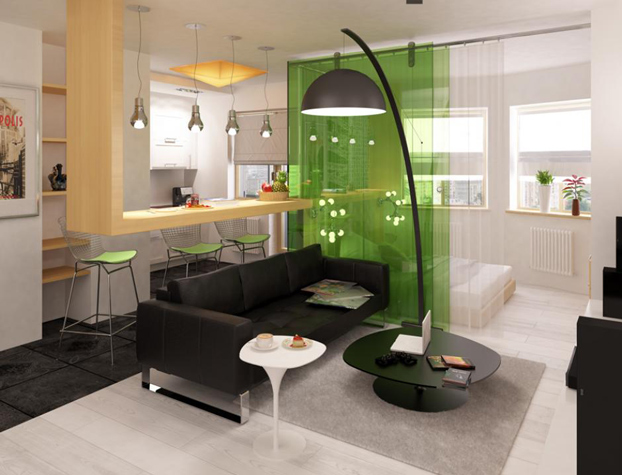 Modern black and white studio apartment with a touch of for Green interior designs
