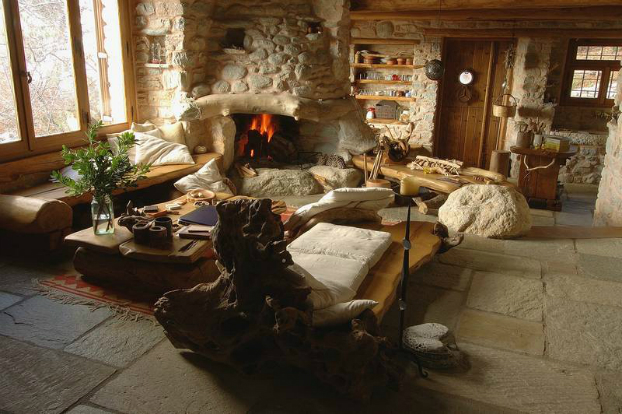 Traditional stone house for a way of life simple and for Traditional house interior