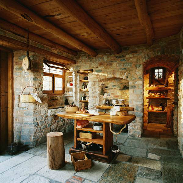 "Traditional Home Interiors: Traditional Stone House For A Way Of Life ""Simple And"