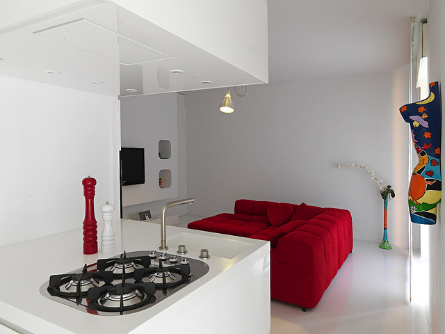 White and red interior