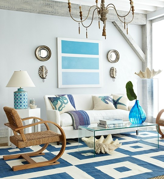 14 great beach themed living room ideas decoholic for Coastal contemporary design