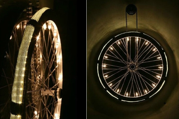 Old Bicycle Wheel Turned Into Minimalist Lighting