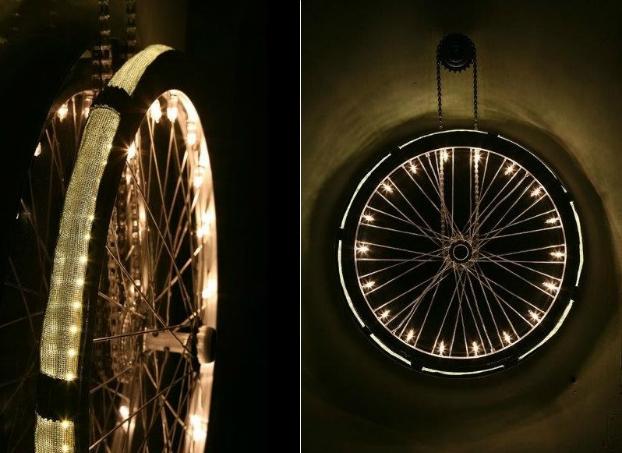 Old Bicycle Wheel Turned Into Minimalist Lighting
