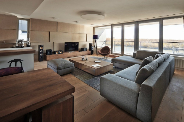 contemporary living room with wood and gray