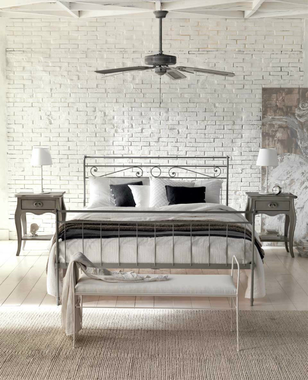 contemporary bedroom with antique trait