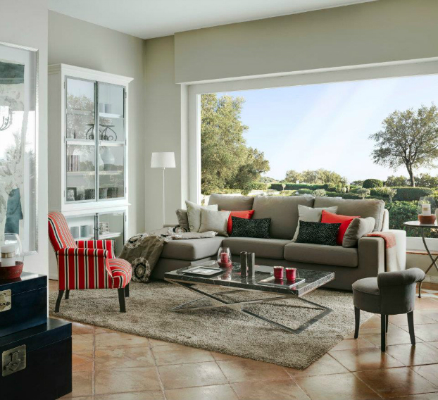 red and gray living room by la albaida