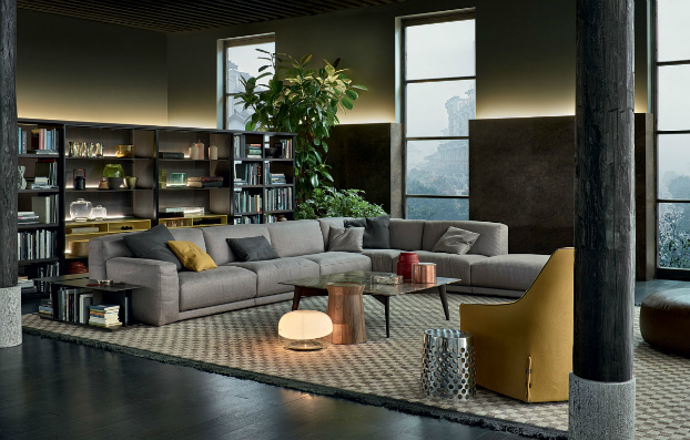 contemporary 2 wall unit-library poliform