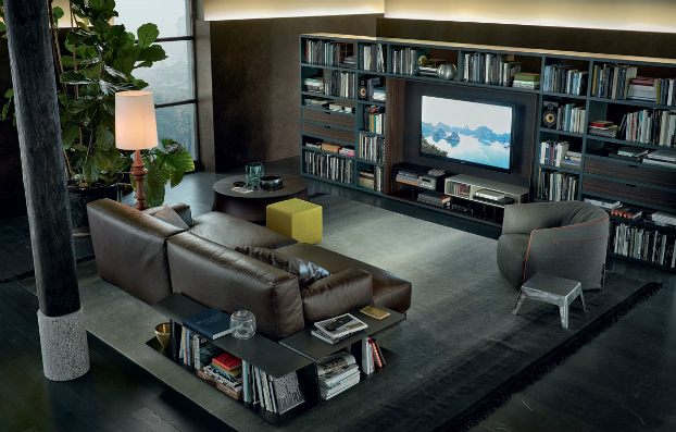 contemporary wall unit-library poliform3