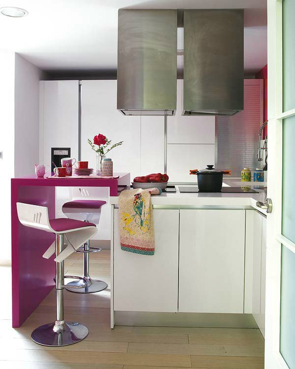 modern 2 white and pink small kitchen