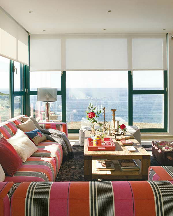 modern fresh living room with sea view