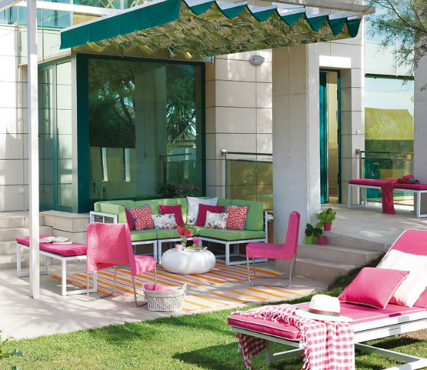 modern pink and yellow outdoor patio