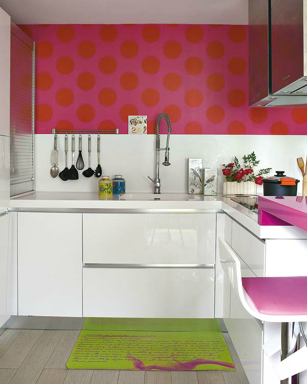 modern white and pink small kitchen