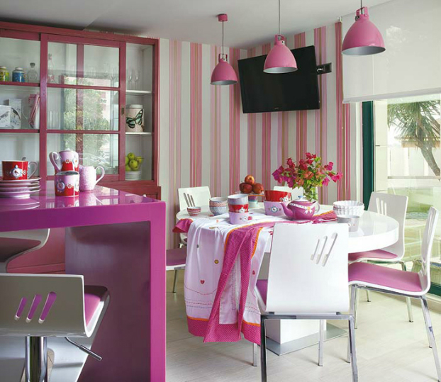 modern white and pink small kitchen dining room