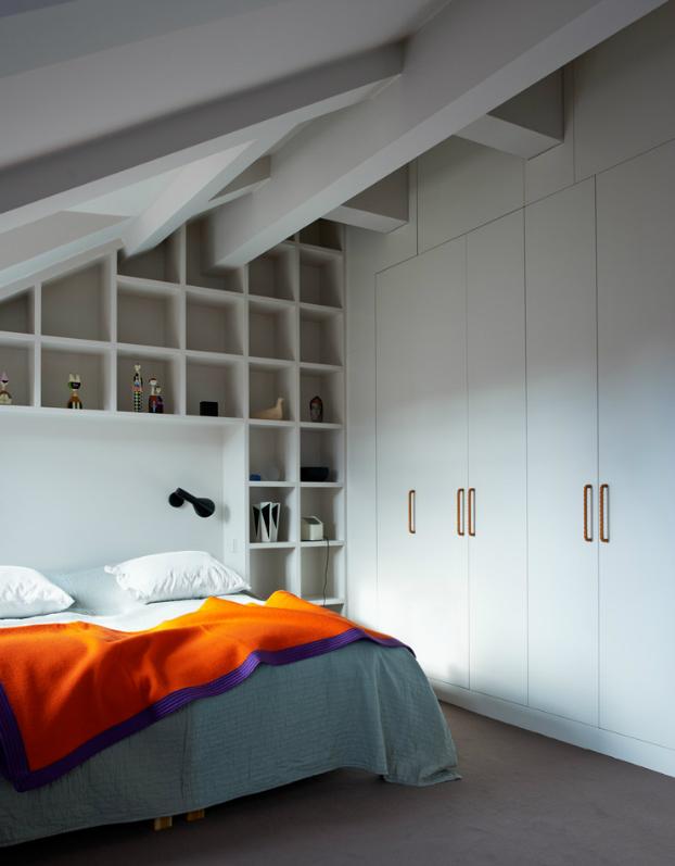 white contemporary attic bedroom design