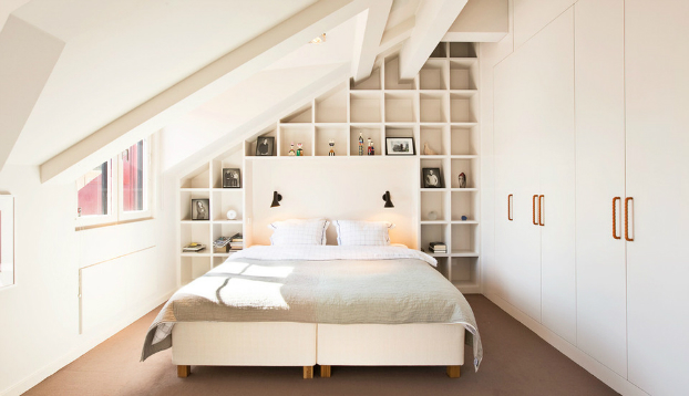 all white contemporary attic bedroom