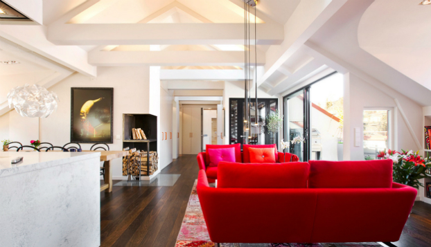 open living room eith red sofas