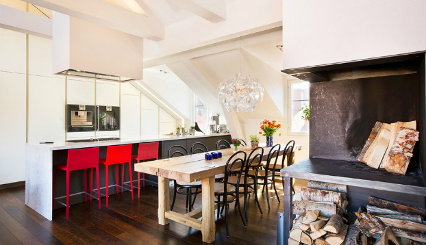 white open kitchen dining room