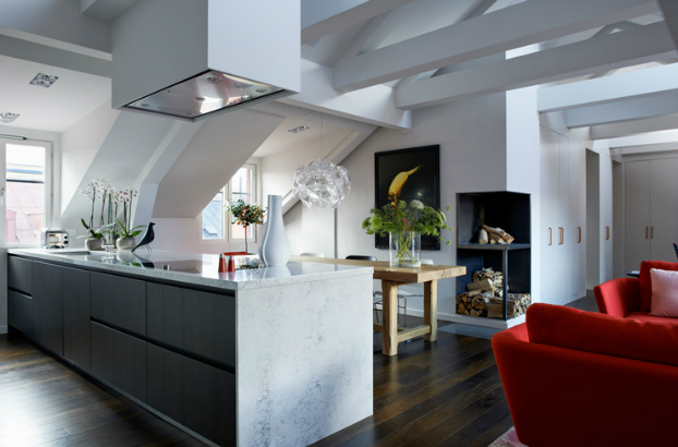 kitchen dining room with fireplace