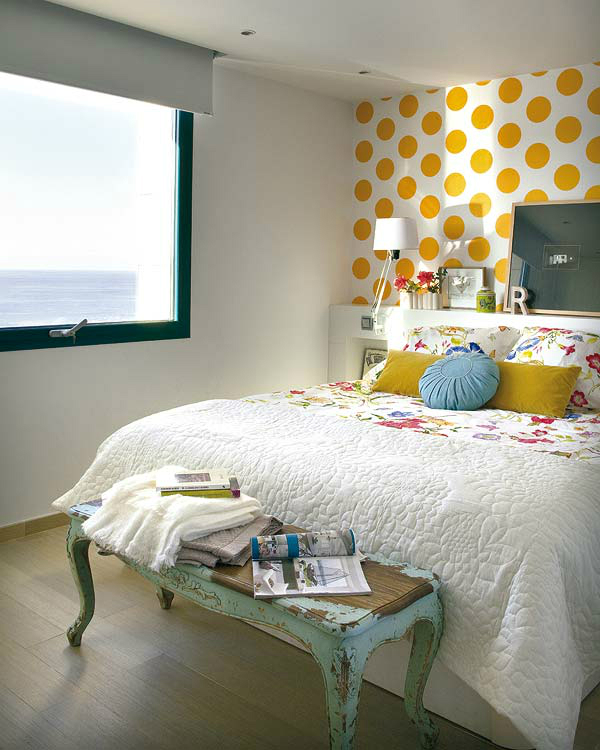 small white and yellow bedroom