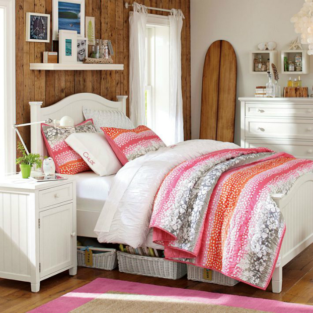Teenage Girls Bedding Idea with wooden wall