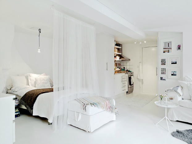 Big design ideas for small studio apartments - Rideau scheiding chambre ...