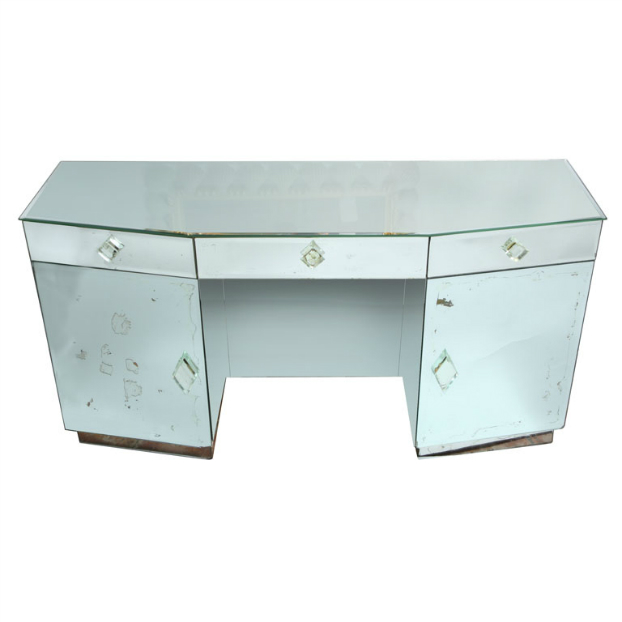 Vintage mirrored desk with beveled glass pulls