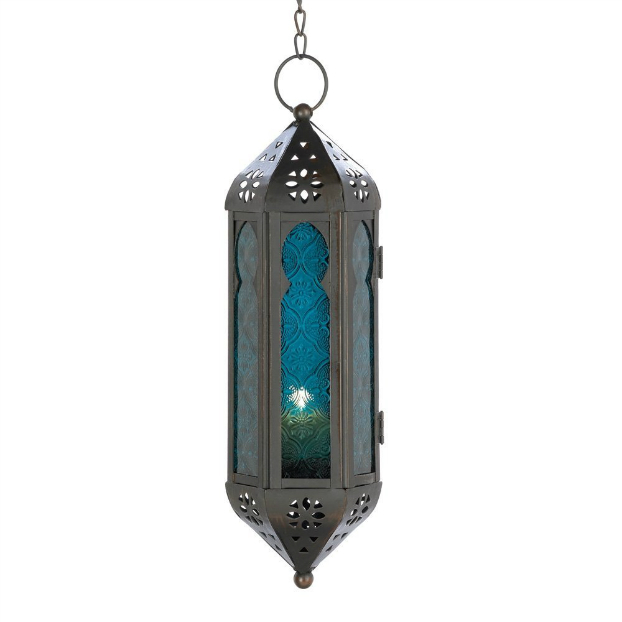 bohemian Ocean Blue Glass Azul Serenity Hanging Candle Lantern