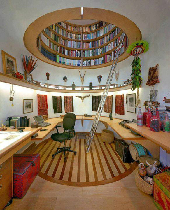rounded bookcase on the ceiling