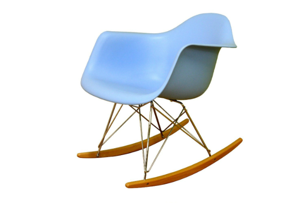 cheap rocking chair Baxton Studio Cara Sky-Blue Cradle with Ash-Wood Rockers