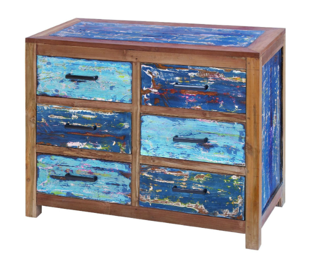 6 Drawer Chest with Retro Vintage Shabby Design Flair