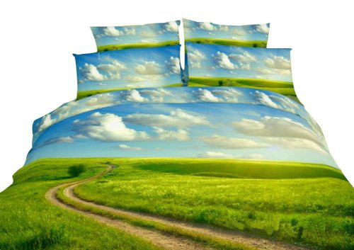 Duvet with Blue Sky White Cloud and Green Grass Pattern