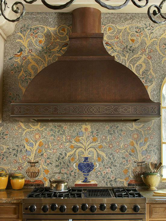 Mediterranean tile backsplash