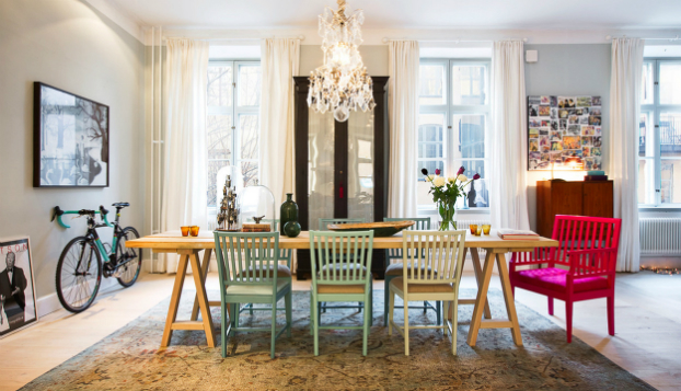 30 Ways To Create A Trendy Industrial Dining Room: Scandinavian Interior Design With Colour Touches