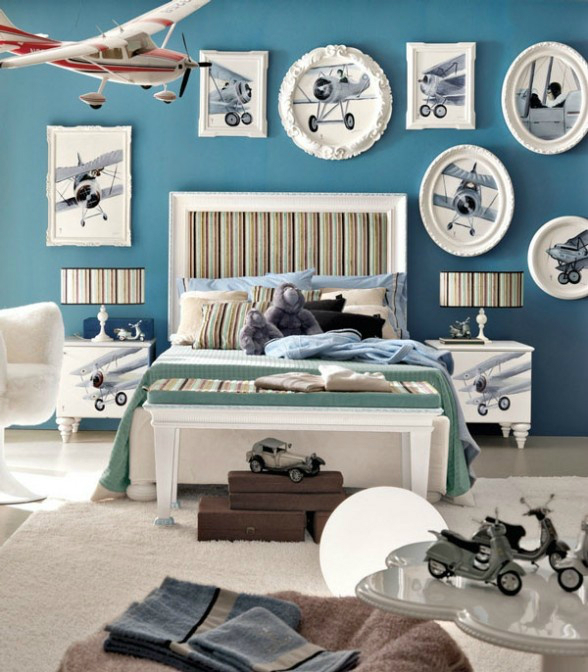 aeroplane themed boys room decorating ideas