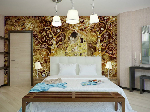 bedroom wall decorated with Gustav Klimt art