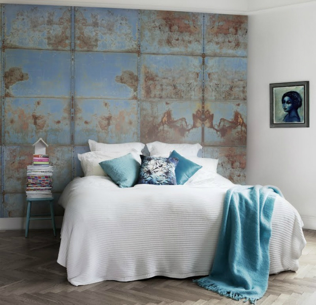 Bedroom Distressed Blue Accent Wall
