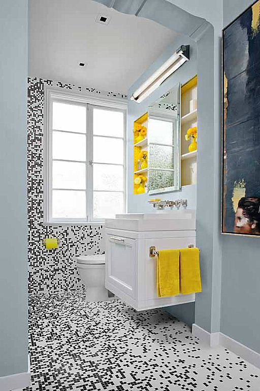 black white yellow small bathroom design idea