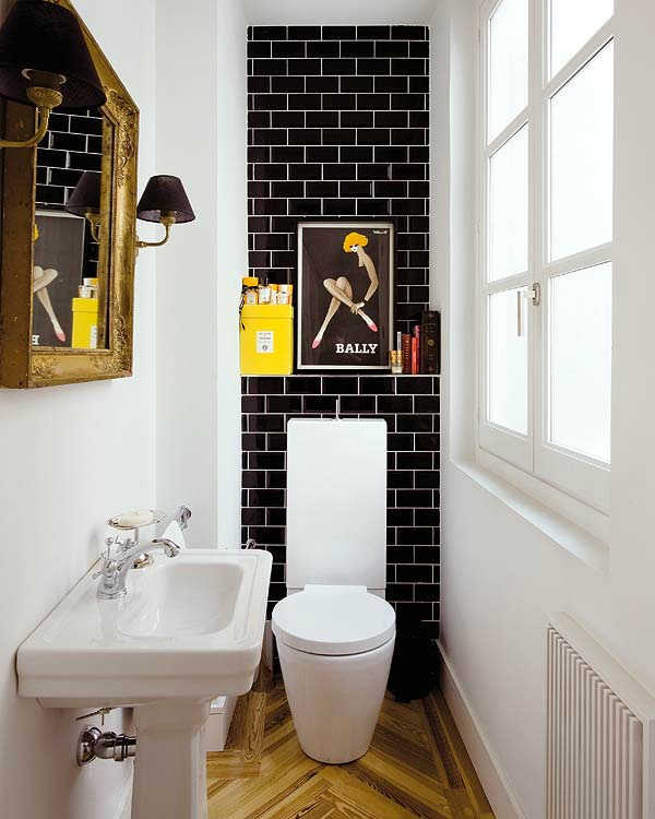Black White Small Bathroom Design Idea