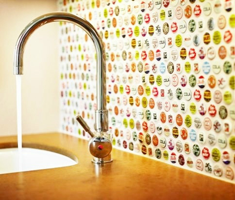 bottle caps Kitchen Backsplash Idea
