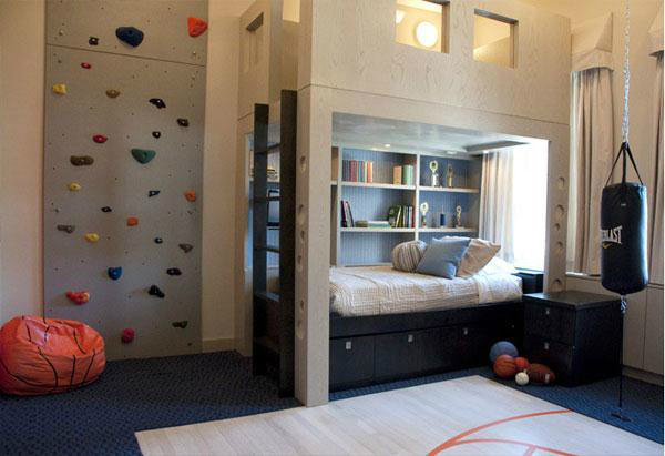 boys room with climping decorating ideas