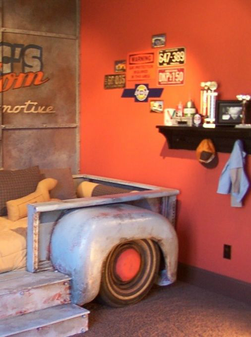boys room with truch bed  decorating ideas