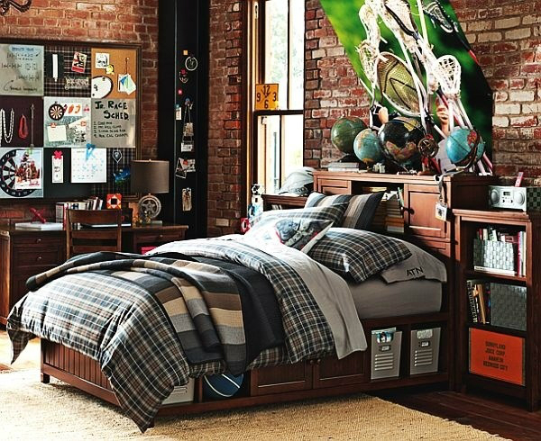 brick wall boys room decorating ideas