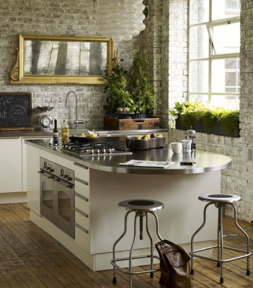 brick wall Kitchen Backsplash Idea