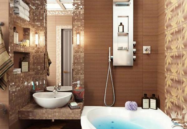 brown small bathroom design idea